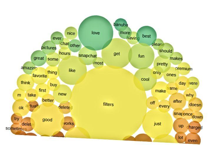 Las palabras más utilizadas en las revisiones de aplicaciones de filtro facial