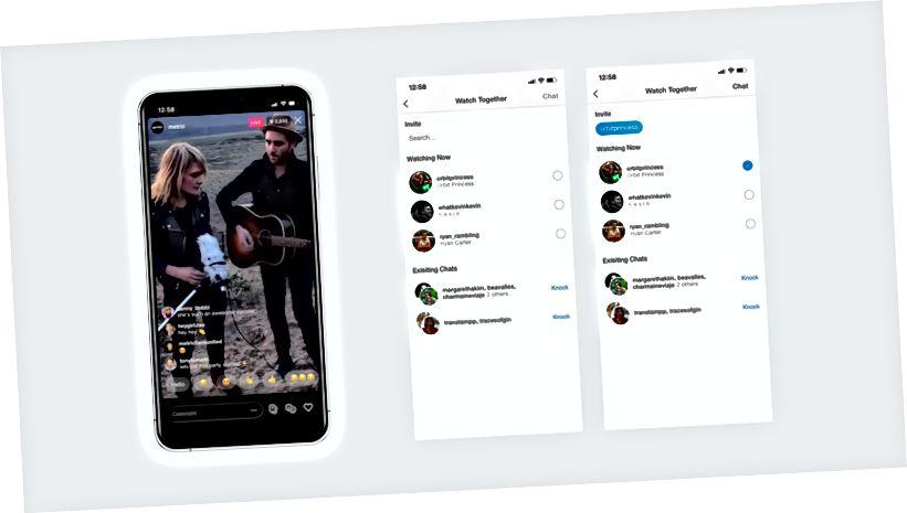Selles näites valib kasutaja sõbra, kellega vestelda, kes ka reaalajas jälgib.