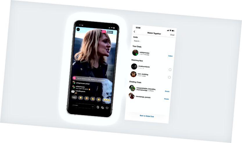 Vasakul: kasutaja on reaalajas voo ajal algatanud privaatse vestluse. Parempoolne: muudatused vaadata koos pärast uue vestluse alustamist.