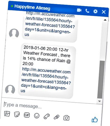 Facebooki vestluskasti sõnum. Asukoha ID selles näites on 135564.
