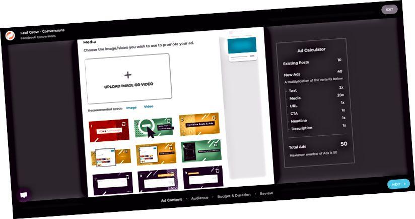Leaf Grow omogućava jednostavno stvaranje i testiranje novih oglasa, u kombinaciji s postojećim postovima.