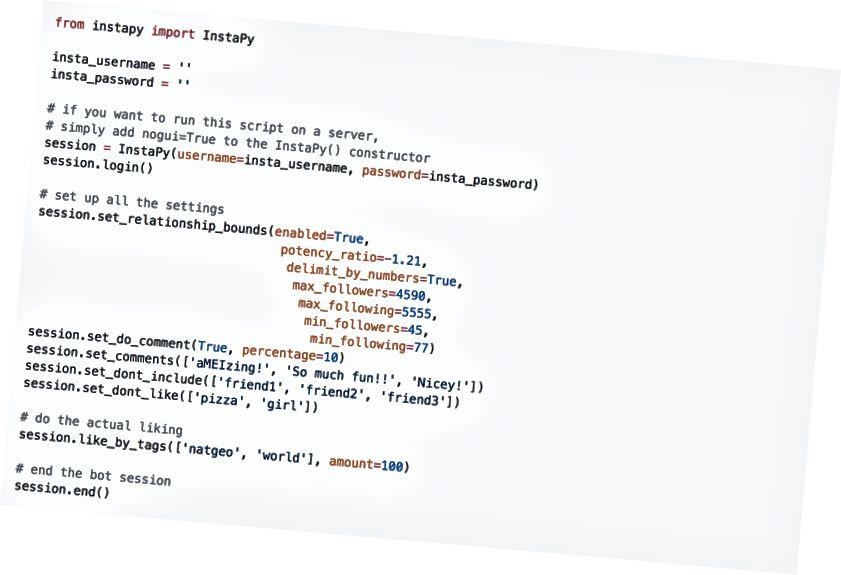 At lære det grundlæggende i Python hjalp med at a) forstå følelsen af tilhængere i stor skala (sentimentanalyse); b) redigere allerede eksisterende scripts for at automatisere smag og kommenteringsfunktion. Tak til Tim Grossmann for InstaPy-scriptet.