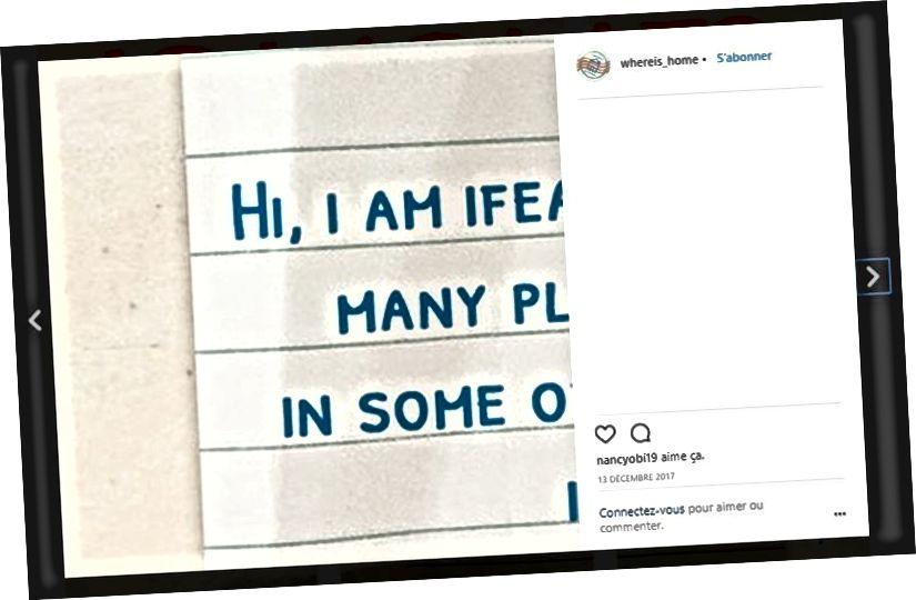 La manera com se separen les imatges de On és la llar? el projecte apareix a la notícia de la plataforma. Captura de pantalla a la pàgina d'Instagram del projecte.