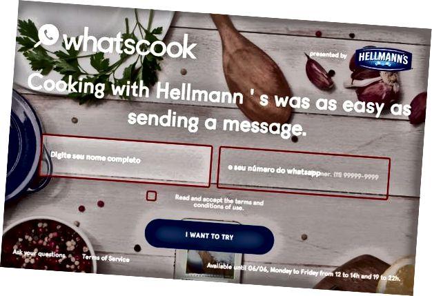 Сайт набыцця карыстальнікаў кампаніі WhatsApp ад Hellmann