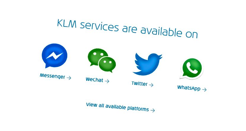 Messaging-appar KLM-support