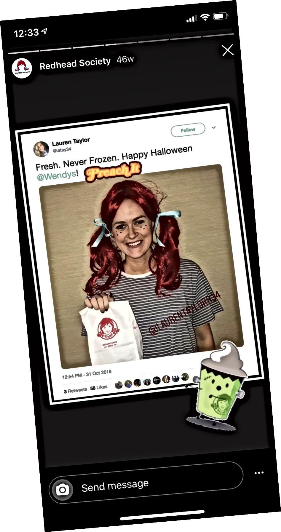 Instagram Stories fremhæver 'Redhead Society' af @wendys