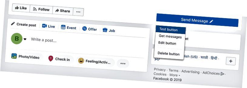 Klicken Sie auf die Schaltfläche Test, um Ihren Bot zu testen