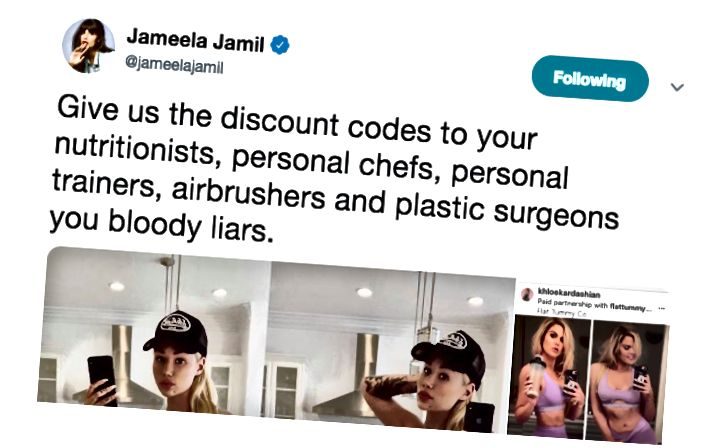 Jameela Jamil er þekktur fyrir að kalla eftir fólki sem auglýsir detox-te