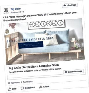 Big Brain bot Kunden, die sich vor dem Start über den Facebook-Chat mit ihnen beschäftigten, Rabatte an.