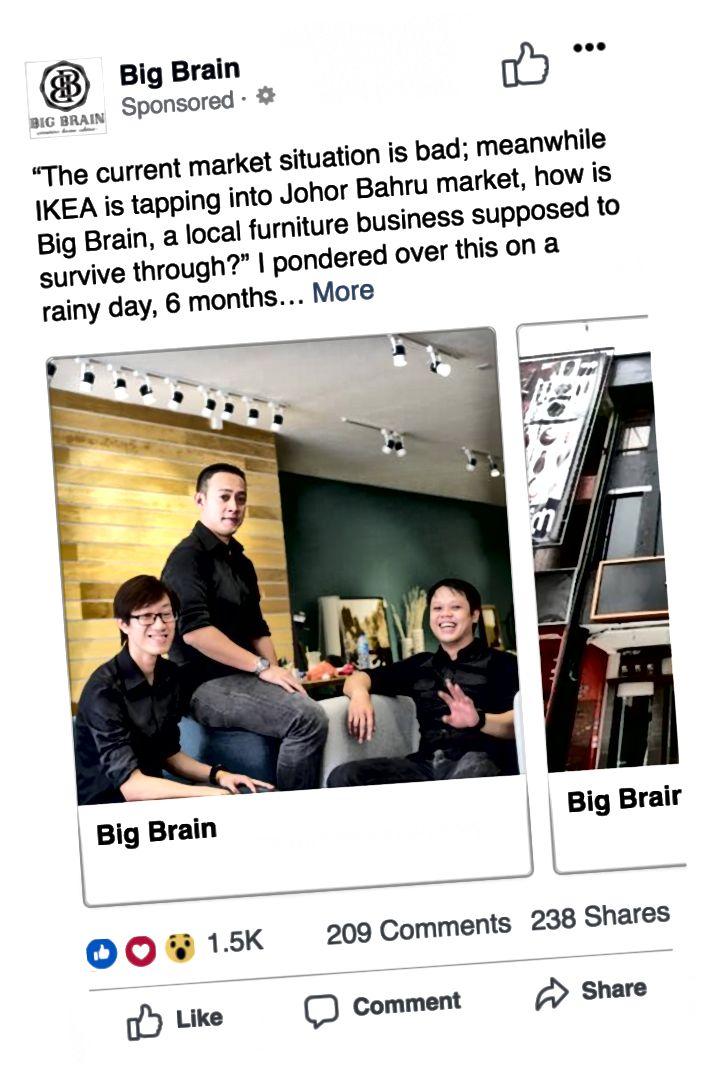 Marcus erstellte Facebook-Anzeigen, um zum Zeitpunkt ihres Online-Starts auf die Marke Big Brain aufmerksam zu machen