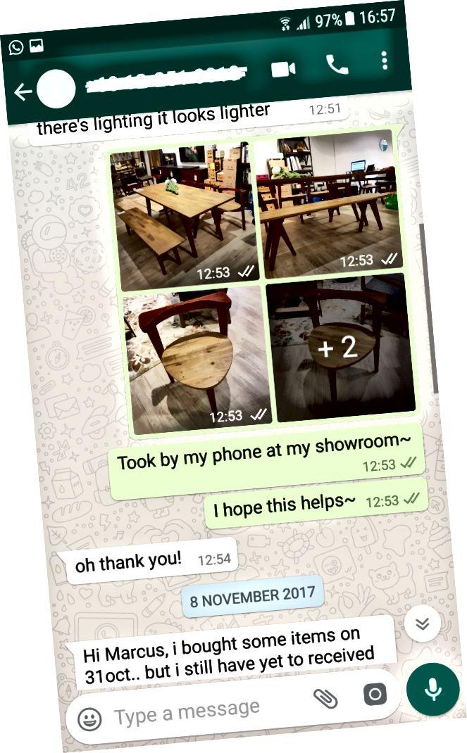 Marcus schickte einem Kunden Bilder eines Produkts, das der Kunde unter verschiedenen Lichtverhältnissen sehen wollte