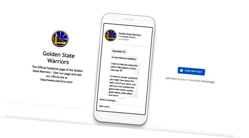Zlatni State Warriors Facebook Messenger početna stranica