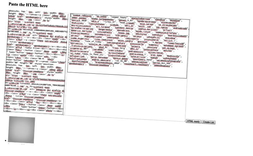 Allapoole kerimisel näete konto jälgijaid. Parempoolsel tekstialal saate nimekirja kopeerida pythoniks valmis.