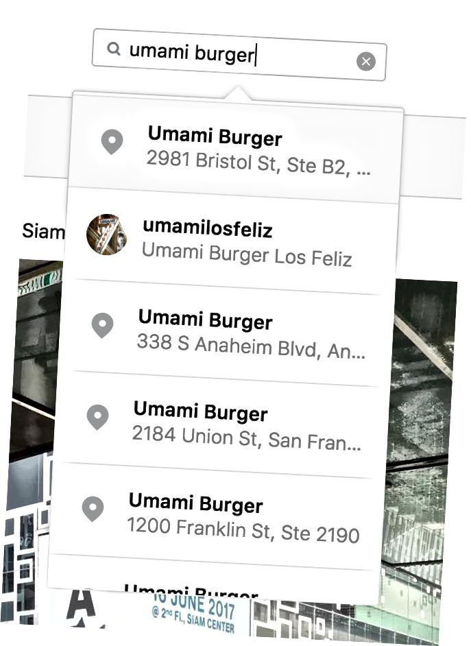 Standort-Tags auf der Instagram-Website