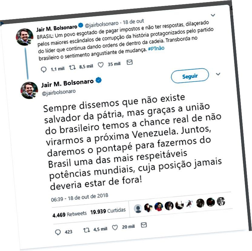 """Félag Jair Bolsonaro, þar á meðal lína sem segir """"Við höfum raunverulegan möguleika á að koma í veg fyrir að Brasilía breytist í Venesúela."""" (Heimild: Twitter / Jair Bolsonaro)"""
