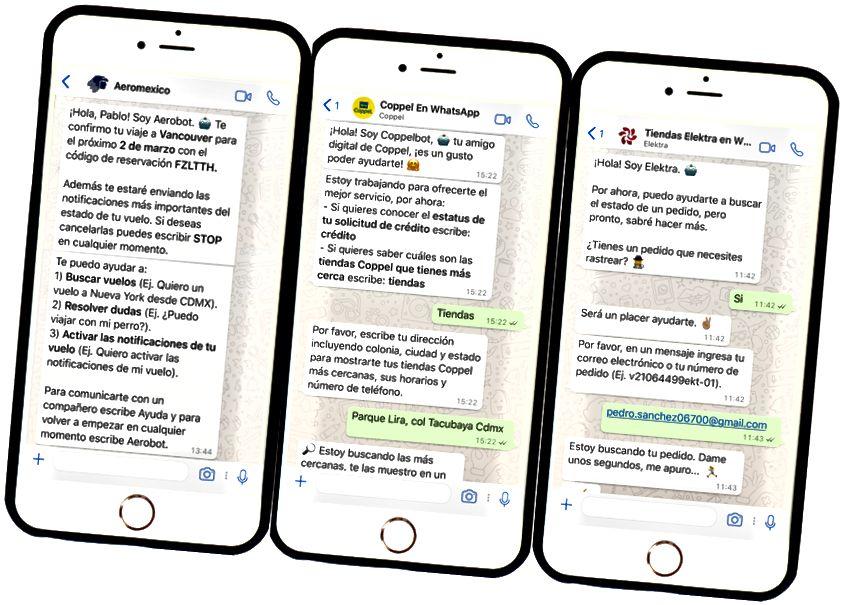 Från och med juli 2017 använder flygbolaget Aeromexico och de bästa mexikanska detaljhandlarna Elektra och Coppel redan WhatsApp för att skicka pushmeddelanden, spåra kreditansökan, svara på frågor via både AI-drivna chatbots och live agentchatt. Mycket mer funktionalitet kommer.