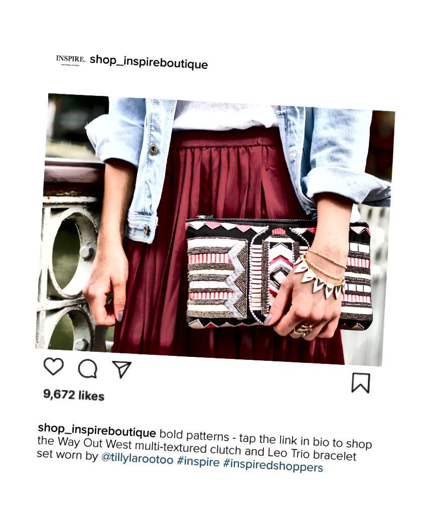 Inspire Boutique'i kaubamärgiga hashtag on #inspiredshoppers.