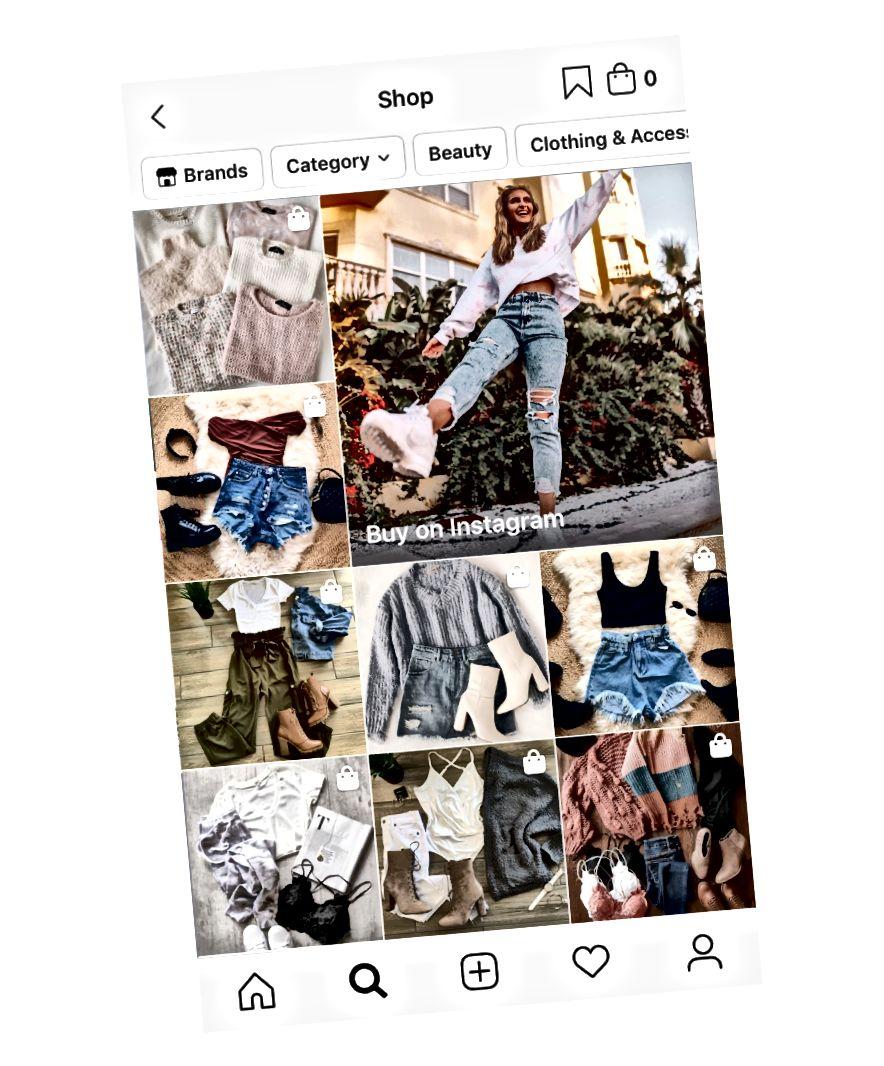 Esiletõstetud ostupostitused Instagrami uurimislehe vahekaardil Pood