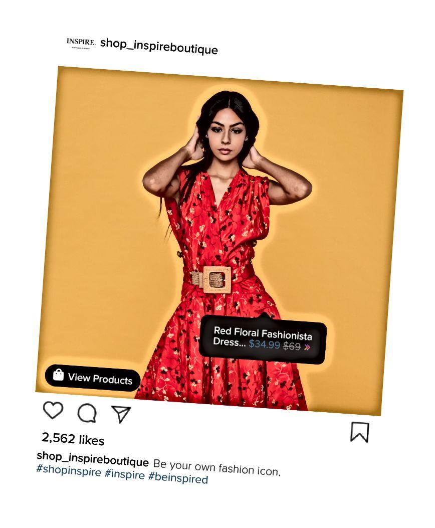 Köpare kan se namnet och priset på artikeln direkt på Instagram-nyhetsflödet.
