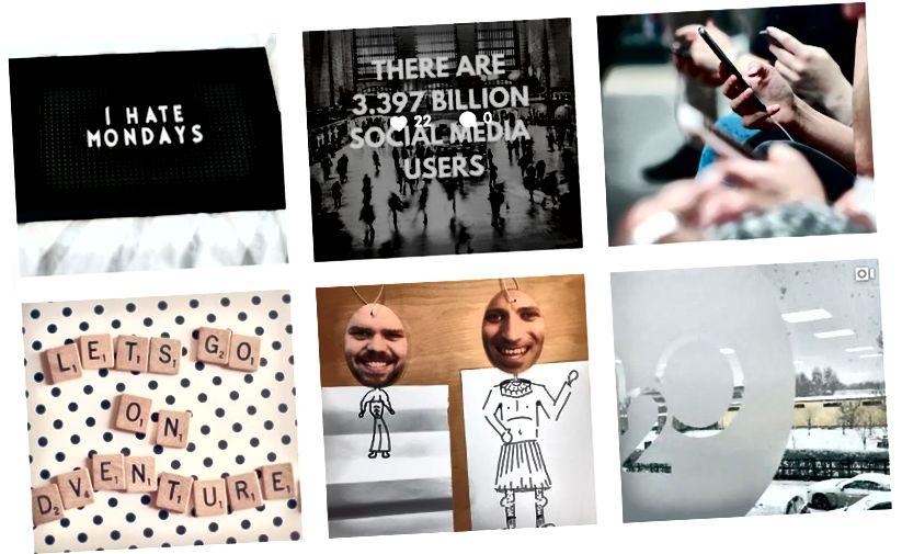 მარკეტინგის ტიპის პოსტების და კომპანიის კულტურის სურათების ნაზავი.