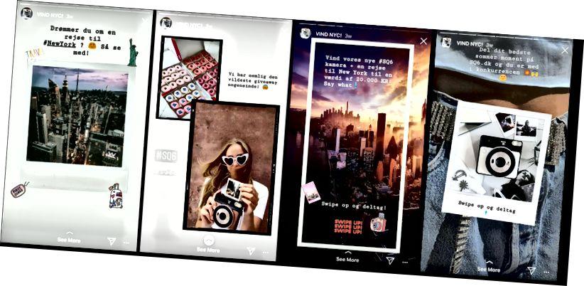 Iată Instagram Stories, unde Instax Danmark promovează o competiție.