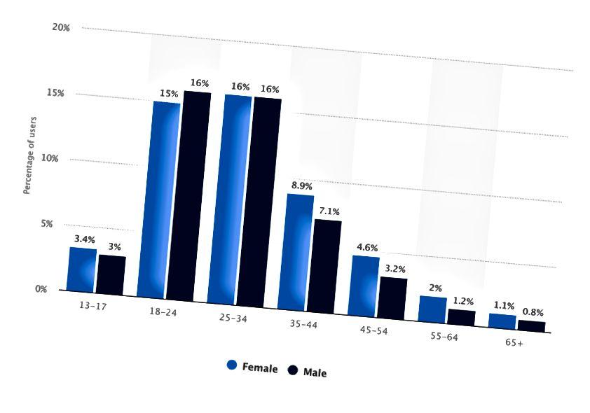 Raspodjela korisnika Instagrama širom svijeta od travnja 2019. prema dobi i spolu (grafikon statista.com)