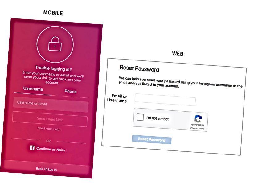 Web vs Mobile: Var och en erbjuder något annorlunda upplevelse för att återställa lösenord.