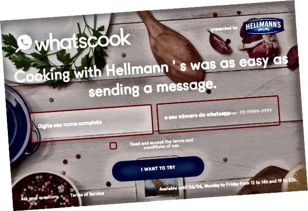 Web mjesto korisnika za kupnju WhatsApp kampanje tvrtke Hellmann