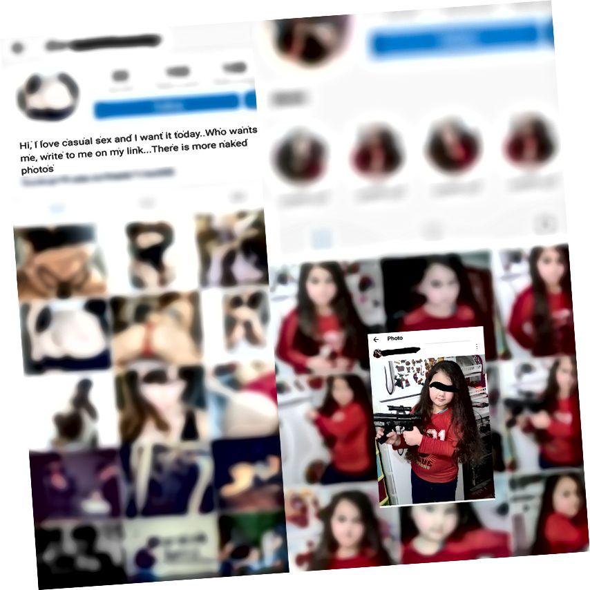 على اليسار ، تظهر الصفحة العامة للرجل نفسه والأشخاص الآخرين المتورطين في المخدرات والمشروبات والكتابات غير القانونية. حولتها إلى صفحة إباحية فجأة. على اليمين توجد صفحة عامة لفتاة تتضمن العديد من الصور المماثلة لها.