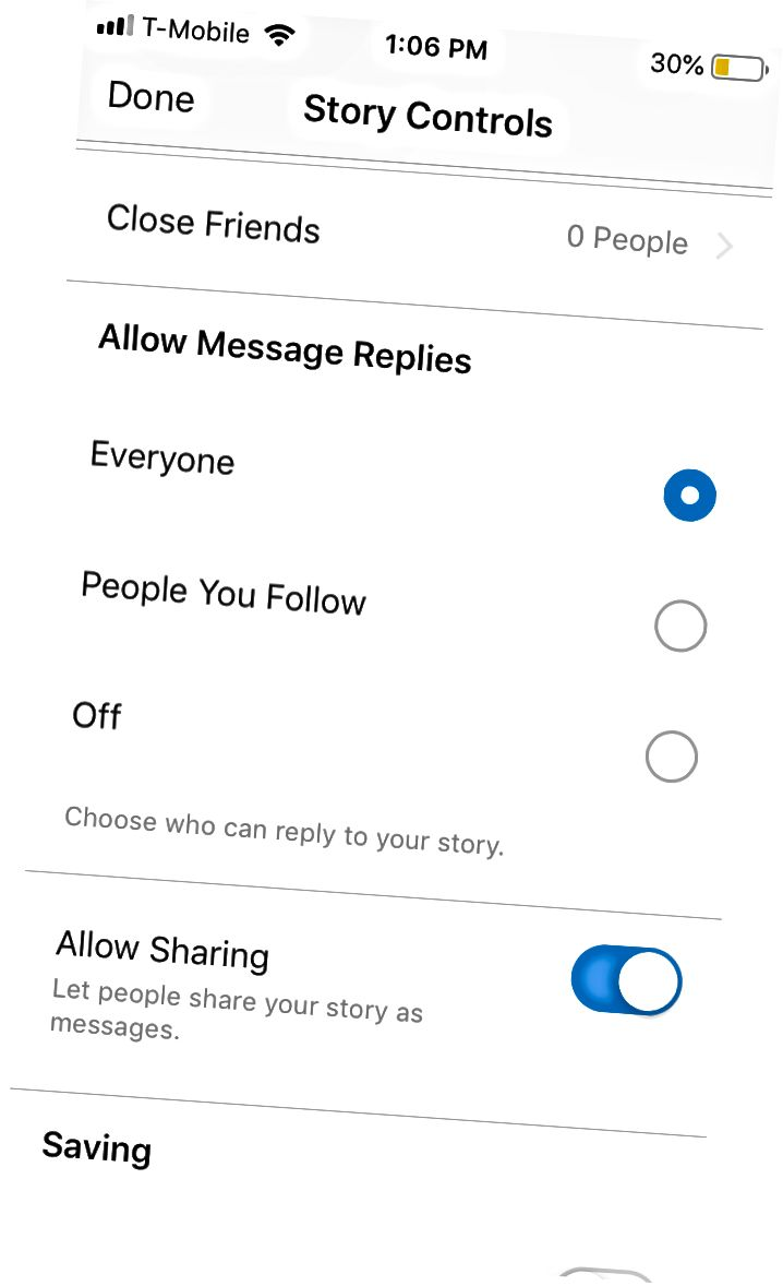 Наладжваючы функцыі пад пэўныя значэнні па змаўчанні, Instagram падштурхоўвае іх выбіраць найбольш інтэрактыўныя варыянты функцый.
