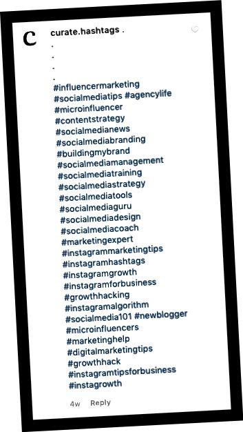 یک روش محبوب برای افزودن هشتگ به پست های شما از طریق یک نظر است