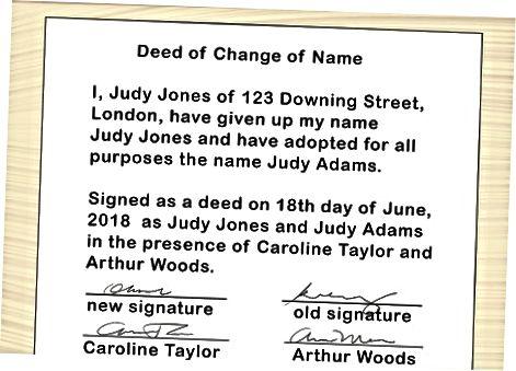 Schimbarea numelui în Marea Britanie