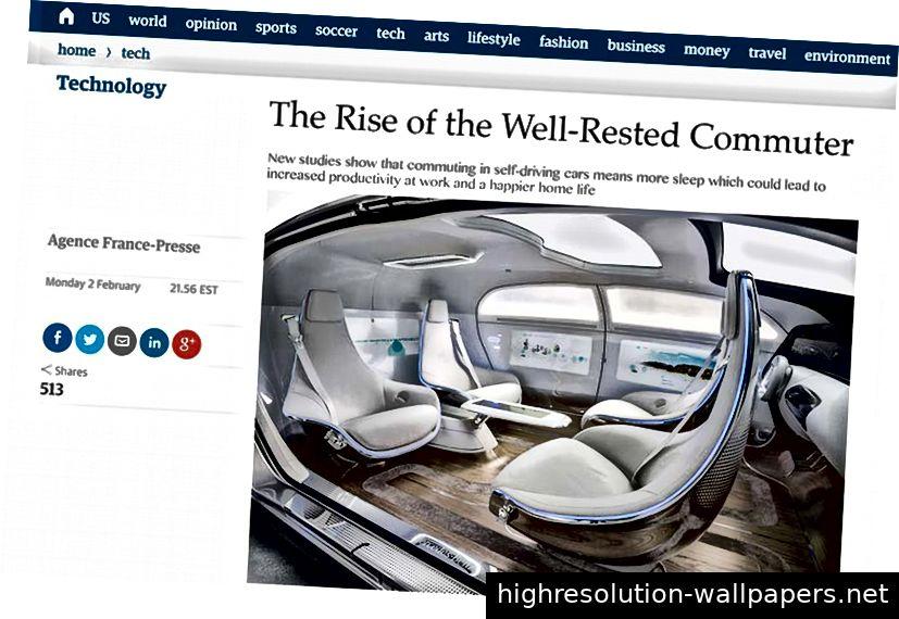 Near Future Laboratory entwarf einen Schnellstart-Leitfaden für ein selbstfahrendes Auto, ein fiktiver Bericht in der Guardian-Zeitung.