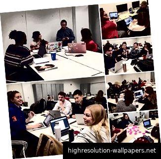 Gruppen arbeiten in Tyler School of Art zusammen.