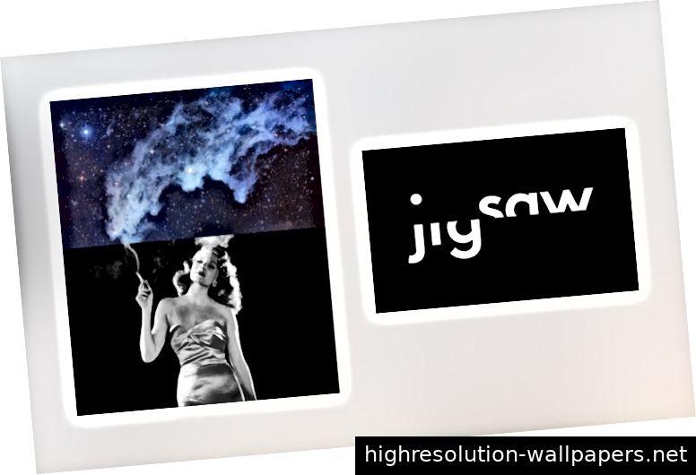 Links: Navigationsskizze / Rechts: Collage (unbekannter Autor) und eine verspielte Identität von Pentagram