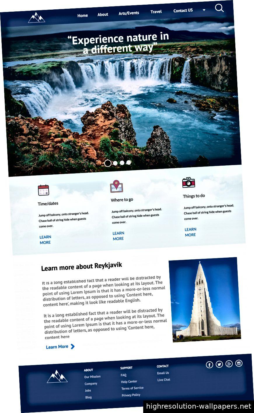 Ursprüngliche Landing Page vor Änderung