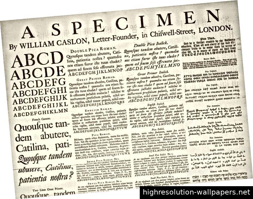 Ein Broadsheet-Exemplar, das 1720 von William Caslon gedruckt wurde und die physischen Unterschiede zwischen den Metallgrößen darstellt.