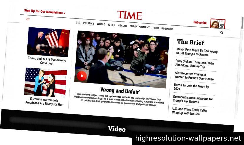 Wireframes für die Time-Website