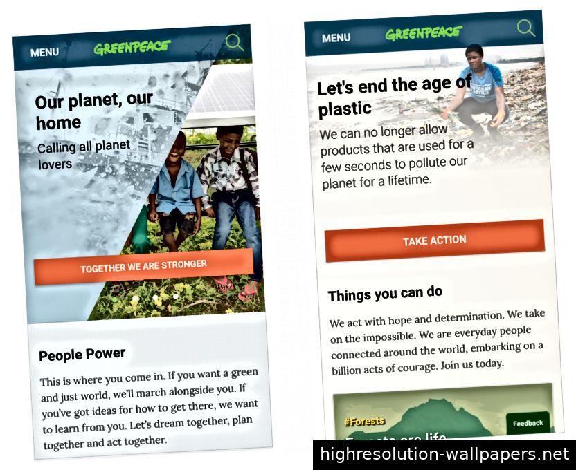 Mobile Website von Greenpeace International