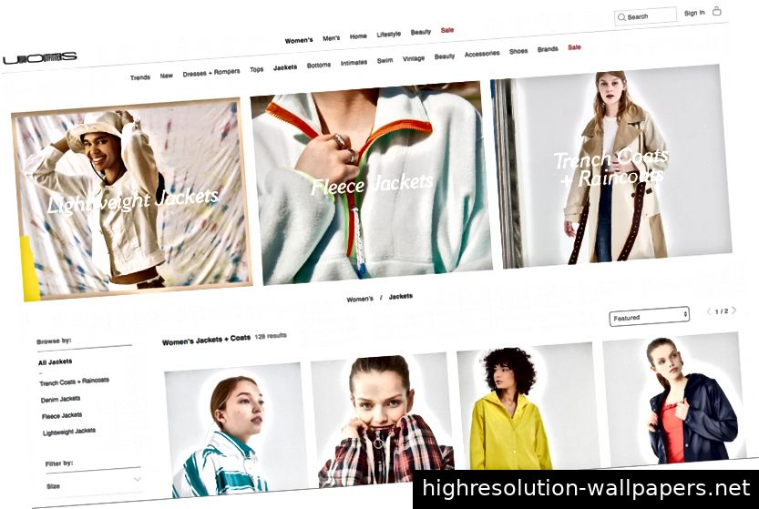 Urban Outfitters Webseite