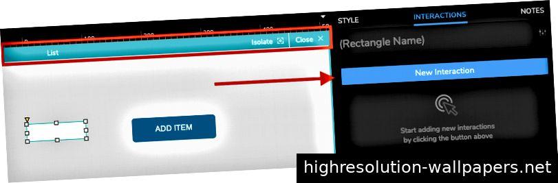 Doppelklicken Sie auf den mittleren Repeater, um den Inline-Editor für das wiederholte Element aufzurufen. Klicken Sie im Bearbeitungsmodus auf, um eine neue Interaktion hinzuzufügen.