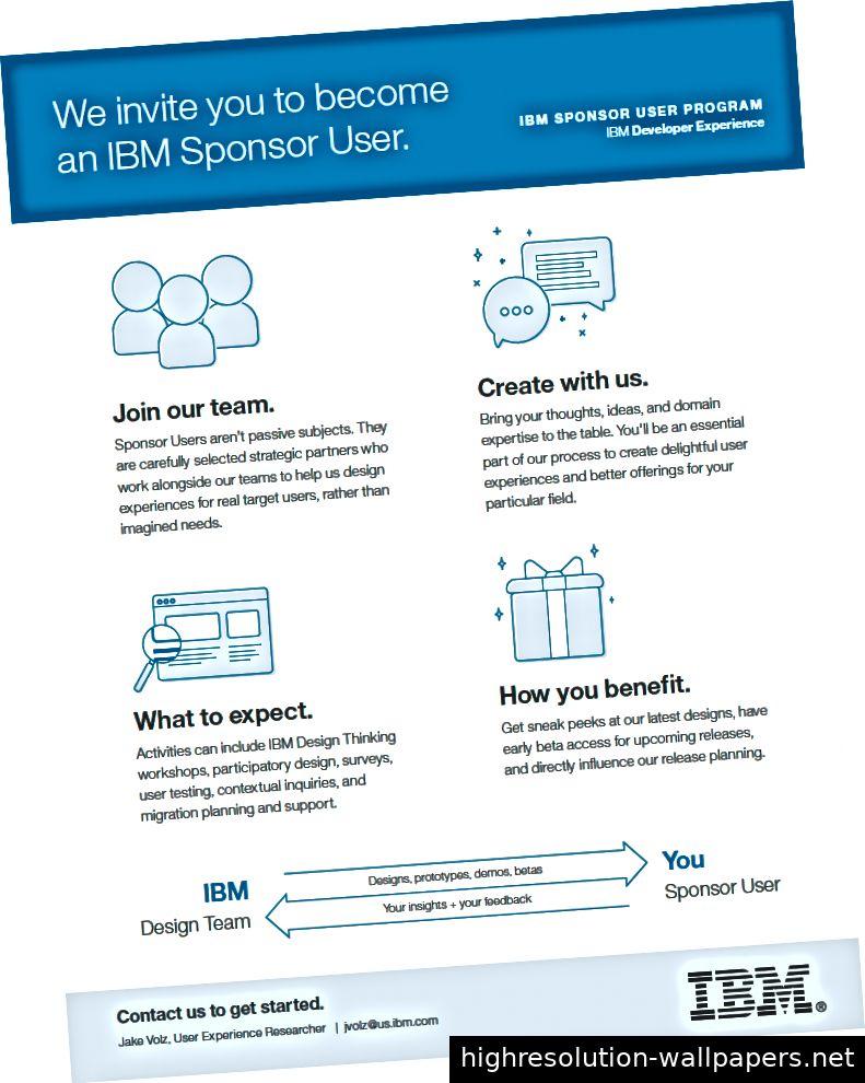 Flyer des IBM Developer Experience-Teams auf der Suche nach neuen Sponsor-Benutzern (Foto mit freundlicher Genehmigung von: Jake Volz)