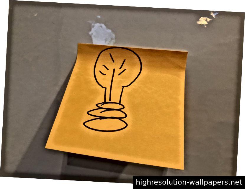 Das ist eine wütend aussehende Glühbirne. Hoffentlich wird sich mein Post-It-Spiel in den nächsten 10 Wochen verbessern.