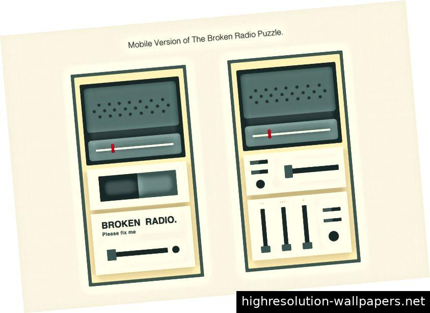 Mobile Version des Broken Radio-Puzzles im Anfangsmenü- und im Startstatus