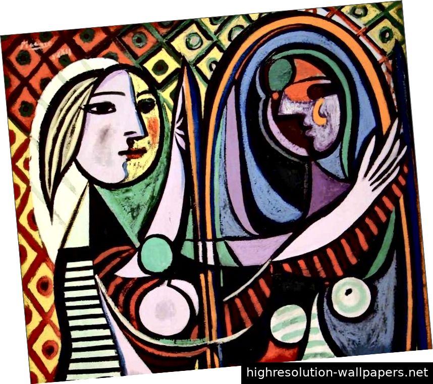Mädchen vor einem Spiegel, Pablo Picasso
