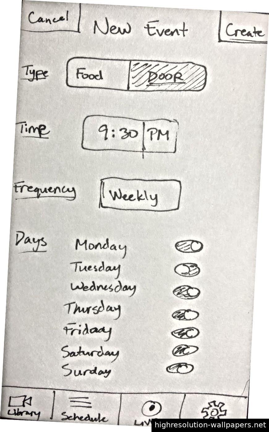 Von links nach rechts: Der Startbildschirm, der Zeitplanbildschirm und der neue Ereignisbildschirm