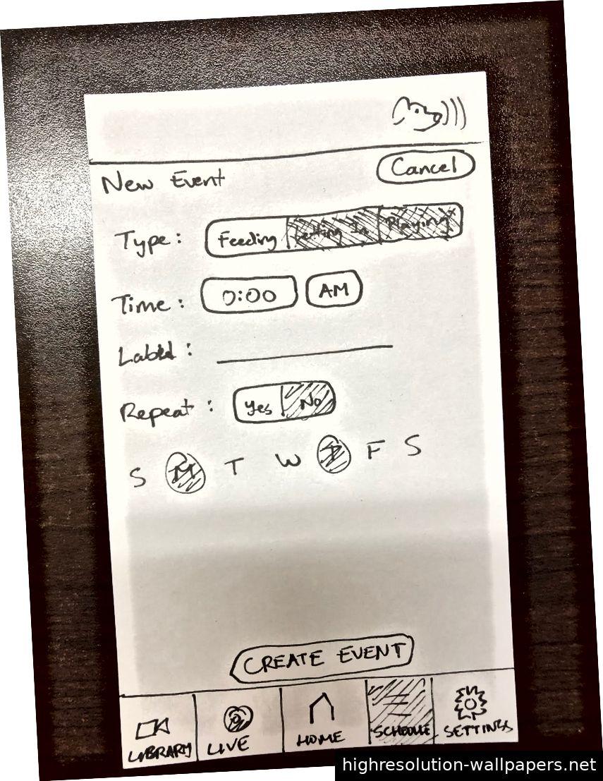 Verbesserte Bildschirme aus unserer heuristischen Auswertung. Von links nach rechts: der Startbildschirm, der Live-Bildschirm mit Steuerelementen und der neue Ereignisbildschirm