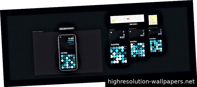 Responsive App-Entwicklung, Design links, Screenshots rechts