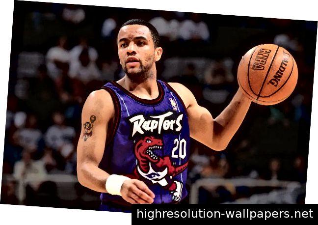 Der ehemalige Raptors-Spieler Damon Stoudamire im kampflustigsten NBA-Trikot aller Zeiten.