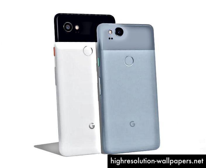 Google Pixel 2 med farverige tænd / sluk-knapper
